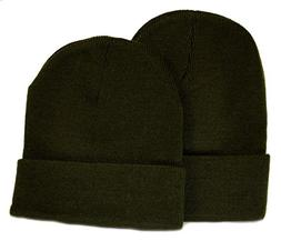 Holiday Deals! 2 Pack Knit Beanies / Olive Green