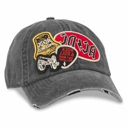 American Needle Iconic Patch Distressed Dad Hat ACDC, Black