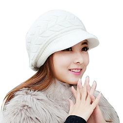 KFSO Women Winter Warm Knit Hat Wool Snow Ski Caps with Viso