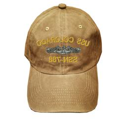 Khaki Washed cotton cap dad hat USS COLORADO SSN-788 FISH AN