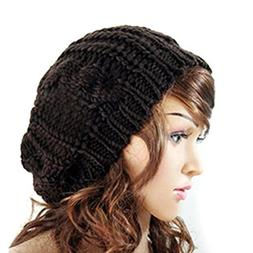 Dealzip Inc® Black Fashion Women Knit Crochet Beanie Beret