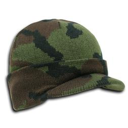 Knit Woodland Camo Cuff Beanie Visor - Winter Wear/Sports -