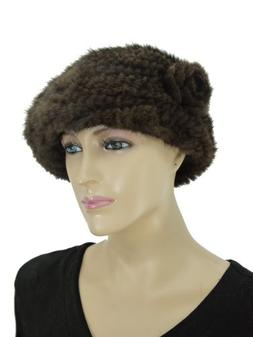 Knit Mink Beret Hat with Rosette - Brown