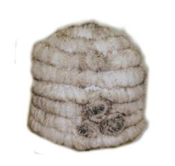 Knit Mink Fur Hat with Rosette - Off White