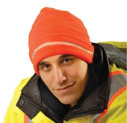 Hi-Viz Knitted Cap With Reflective Stripe - Orange - 2 Pack