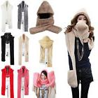 Hot 3 in 1 Women and Men Hooded Scarf With Mittens Neck warm