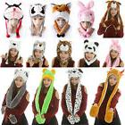 3 in 1 Winter Warm Plush Cute Animal Hat Cap Earmuff Full Ho
