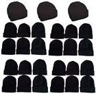 1-15 Dozens Wholesale Lot Black Beanie Knit Ski Cap Skull Cu