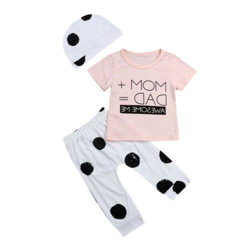 US 3pcs Newborn Baby Boy Girl Tops T shirt+Pants+Hat Summer