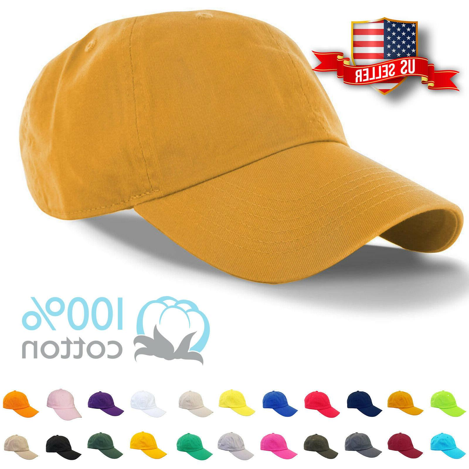 baseball cap plain mens cotton adjustable solid