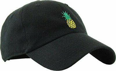 KBSV-021 BLK Pineapple Dad Hat Baseball Cap Polo Style Adjus