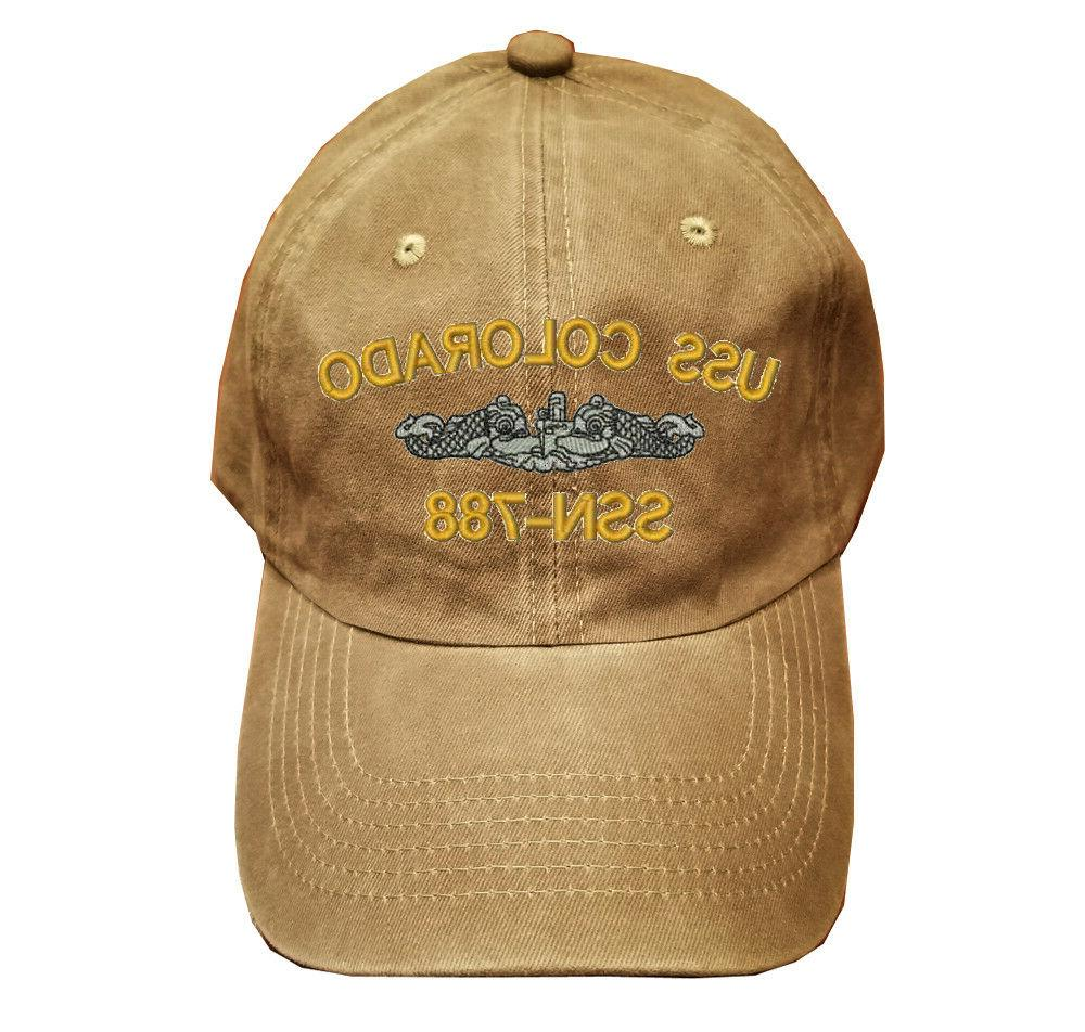 khaki washed cotton cap dad hat uss