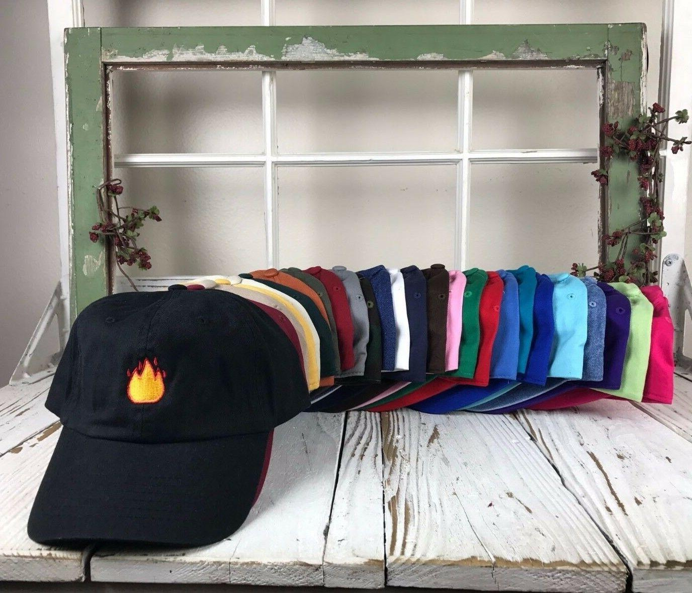lit fire emoji embroidered baseball cap dad