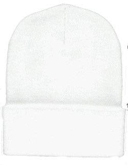 Long Knit Beanie Ski Cap Hat In White