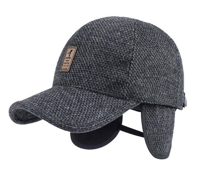 Plaid Knitted Design Baseball Cap with Ear Winter Hats Dad Hat AET5000MM