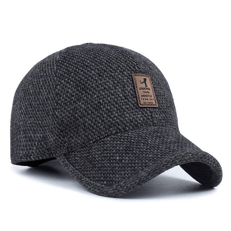 plaid knitted design baseball cap with ear