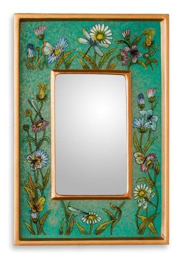 reverse painted glass mirror