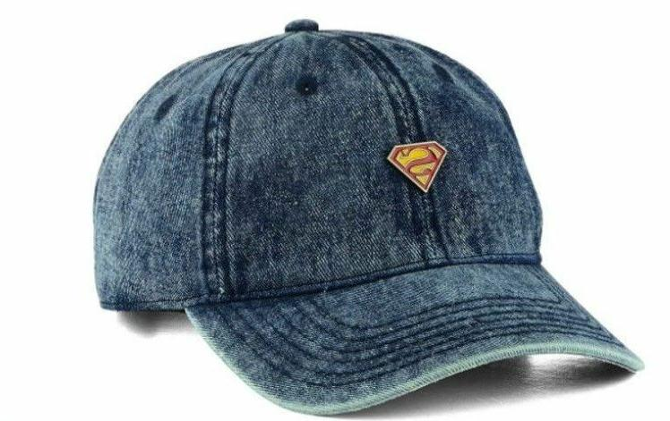 superman metal pin adjustable strapback denim dad