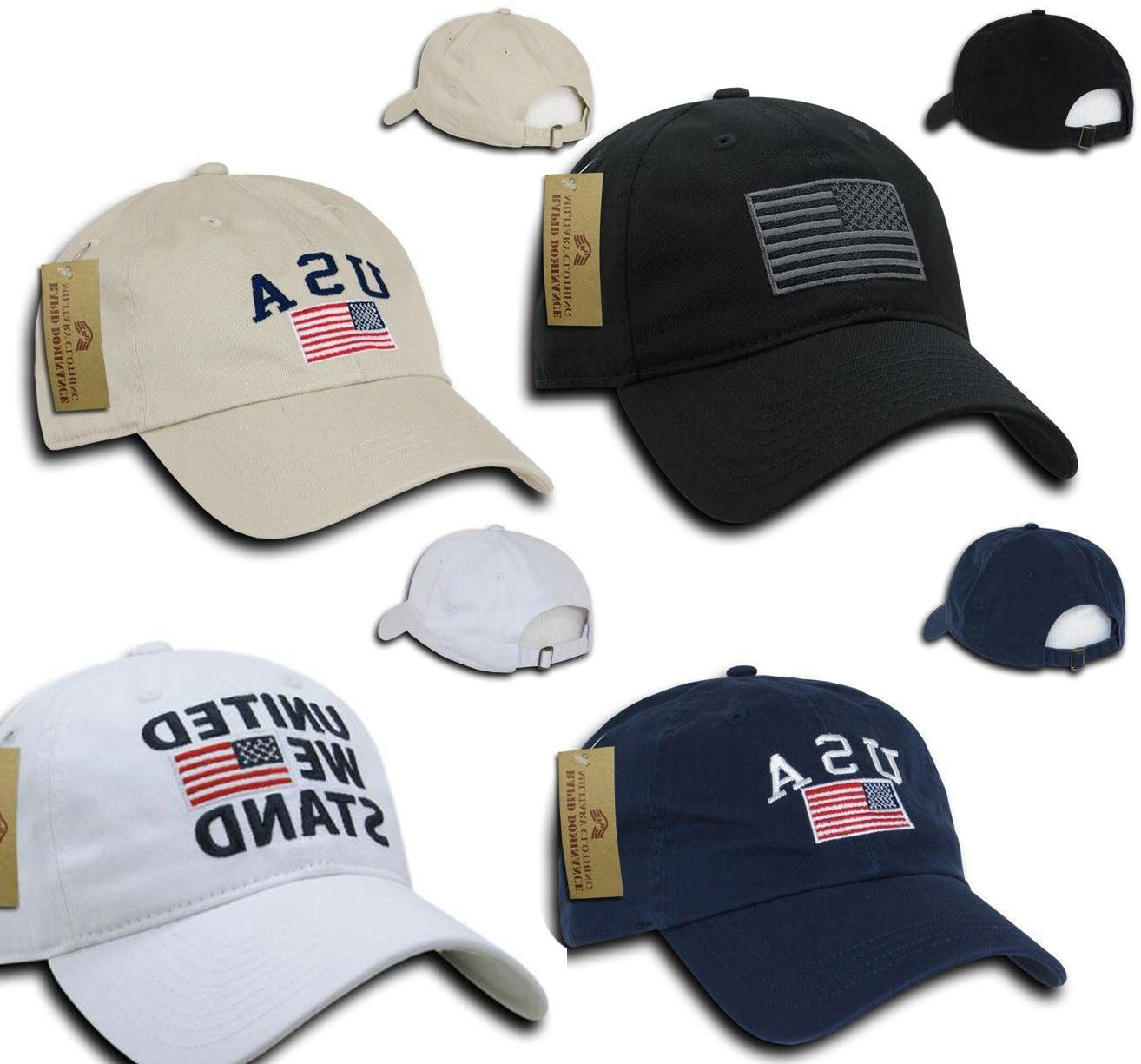 US USA American Flag Patch Baseball Cap Dad Hat Hats Washed