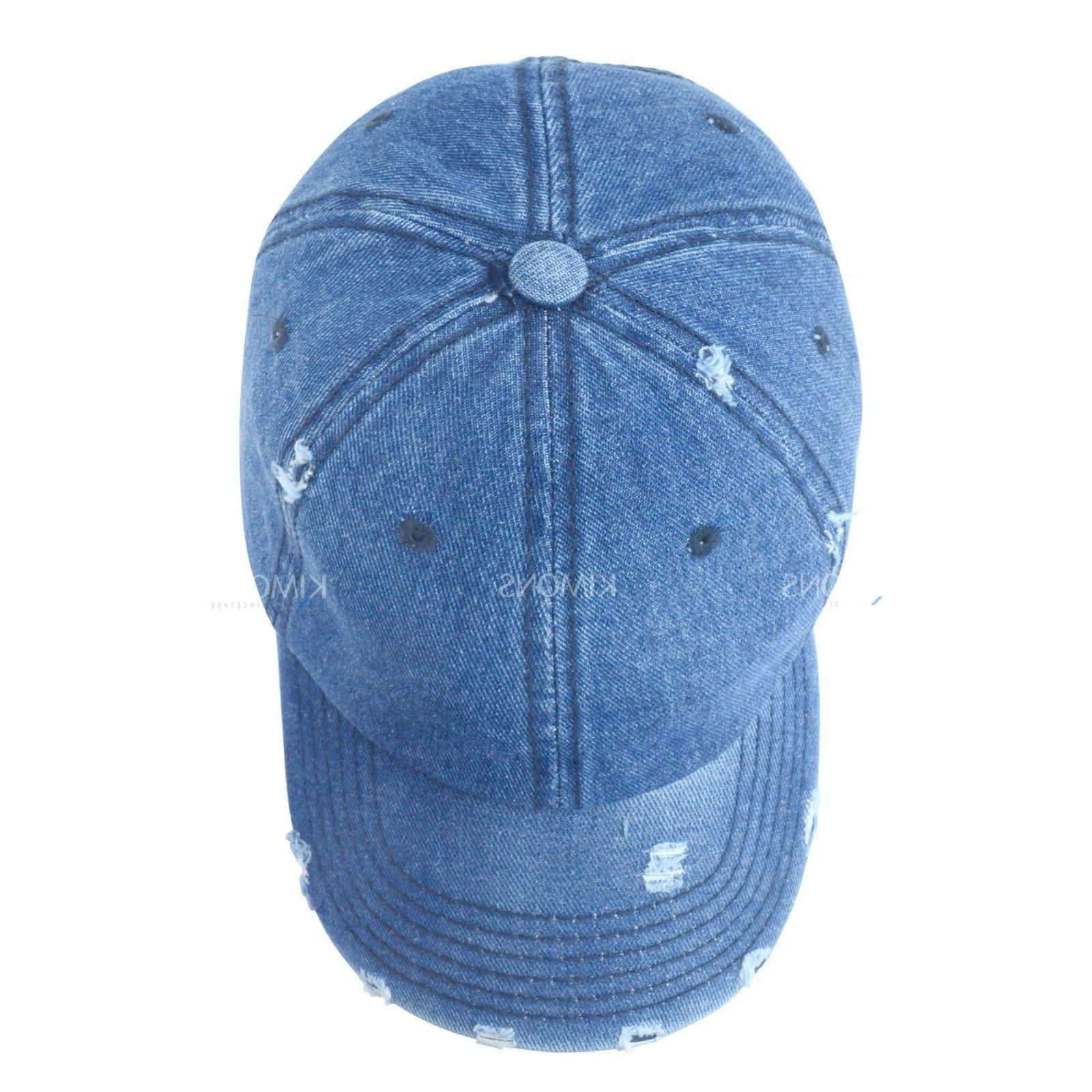 12d561244cbfb4 Vintage Distressed 100% Cotton Solid Denim Cap. Vintage 100% Solid Baseball  Cap Hat Ball Washed