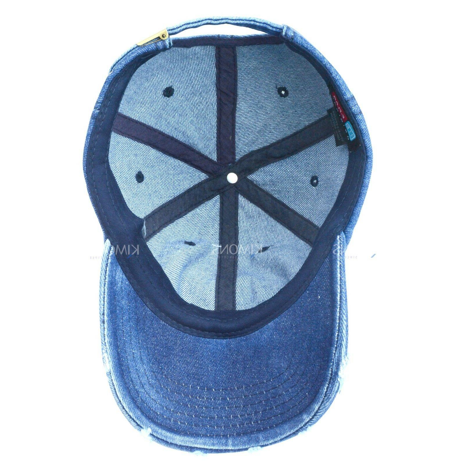 Vintage Distressed 100% Solid Polo Denim Baseball Cap Dad Washed