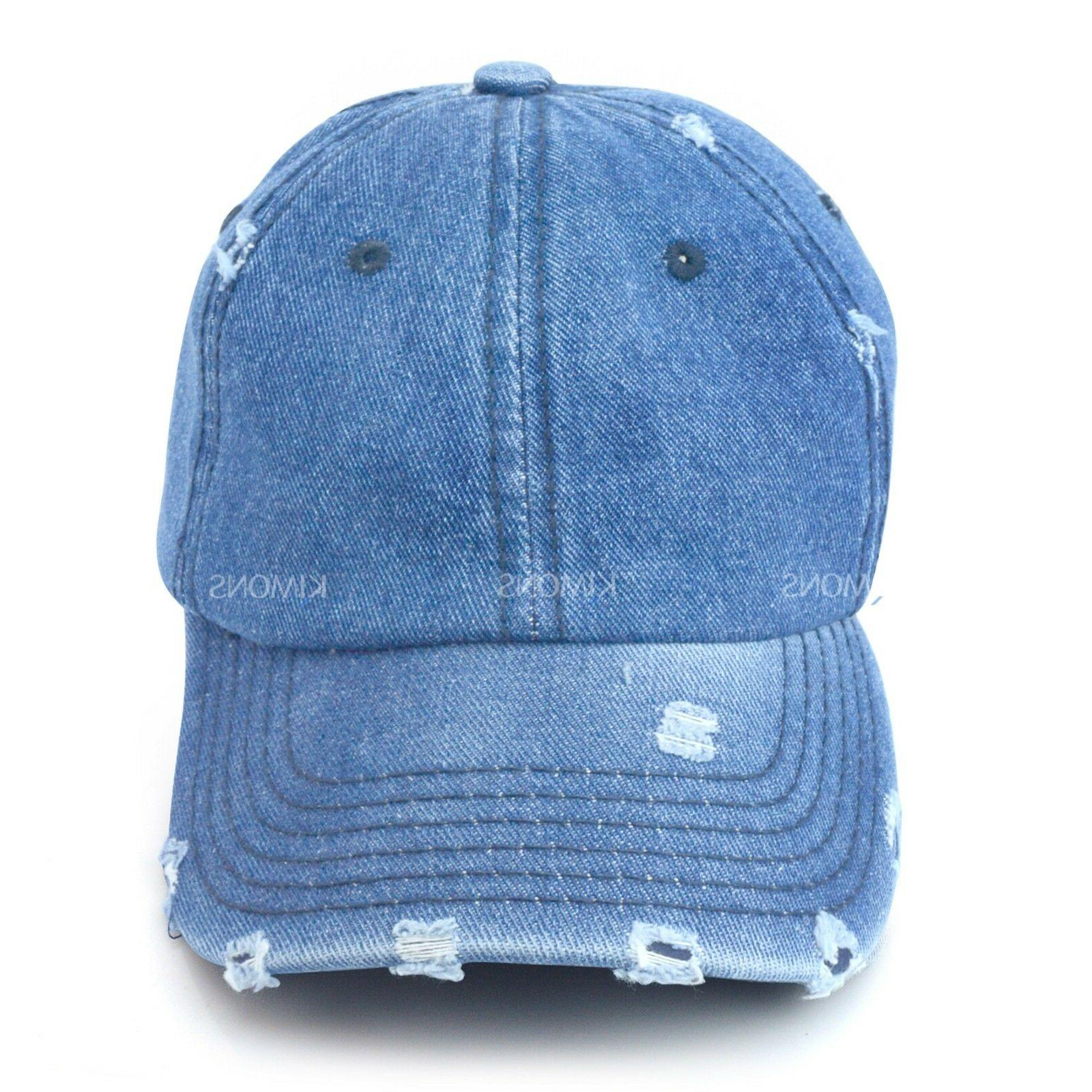 Vintage Distressed 100% Cotton Solid Denim Cap