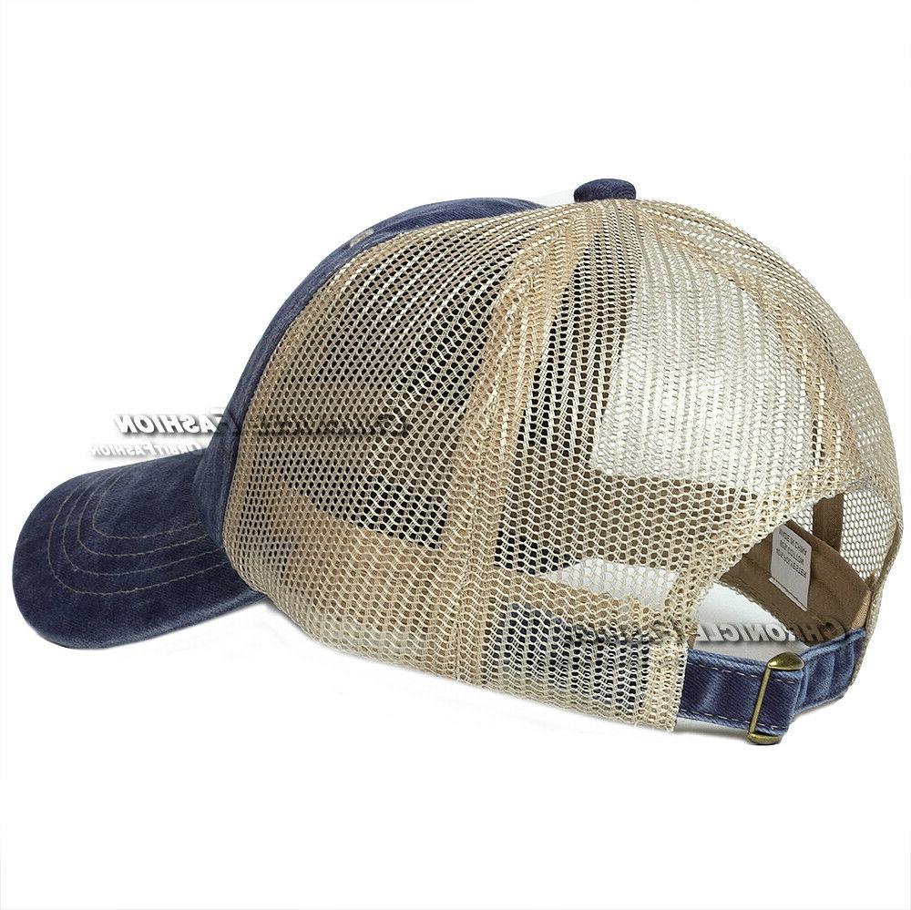Washed Cotton Trucker Mesh Adjustable Baseball Blank
