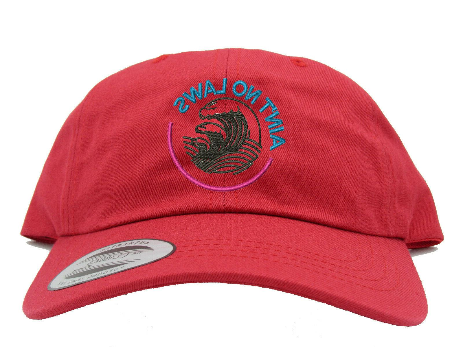 White No Laws When Claws Summer Embroidered Hat