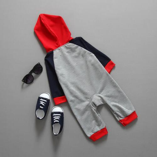 Newborn Baby Girls Hooded Long Jumpsuit Clothes Warm