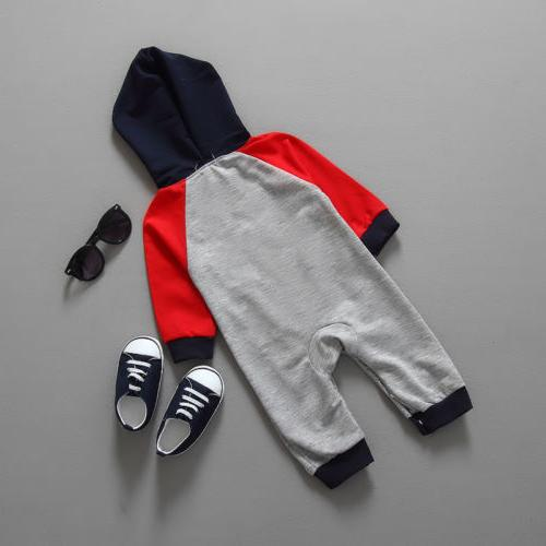 Newborn Boy Hooded Long Sleeve Jumpsuit Clothes One Piece Warm