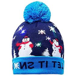 GOVOW Light Up Christmas Hats For Adults LED Knitted Ugly Sw