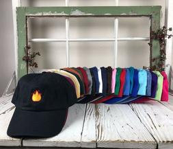 Lit Fire Emoji Embroidered Baseball Cap Dad Hat - Many Style