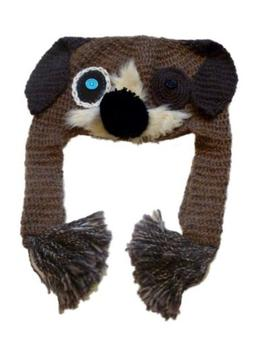 JCP Womens Lumpy Knit Puppy Dog Trapper Hat Peruvian Fur Cri