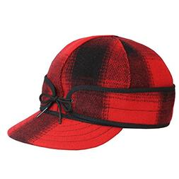 Stormy Kromer Mens Mackinaw Cap Red/Black Plaid 7 1/8