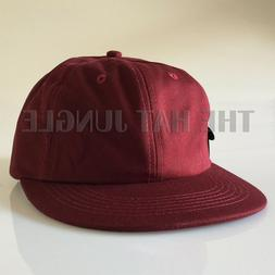MAROON RED Plain Unstructured Dad Hat Buckle Strapback Cap F