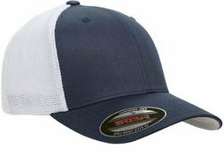 Flexfit Men's Two-Tone Stretch Mesh Fitted Cap Navy/White On