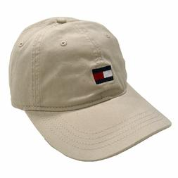 TOMMY HILFIGER Mens Flag Box Logo Strapback Dad Hat Cream Be