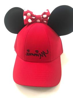 Disney Minnie Mouse Polka Dot Baseball with Ears, Red Womens
