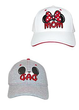 Disney Mom and Dad Fan Baseball Caps , White/Grey
