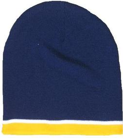 Navy Beanie With Gold and White Trim