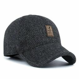 New Plaid Knitted Design Baseball Cap with Ear Flaps Winter