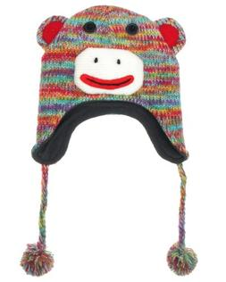 "Capelli New York ""Funky Monkey"" Soft Knit Earflap Hat With 3"