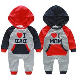 Newborn Baby Boy Girls Hooded Long Sleeve Romper Jumpsuit Cl