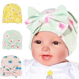 Ademoo Newborn Hospital Hat Baby Girls Nursery Beanie Cap wi