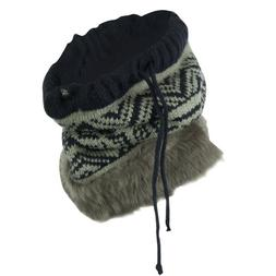 Nordic Neck Warmer with Faux Fur - Navy Grey OSFM