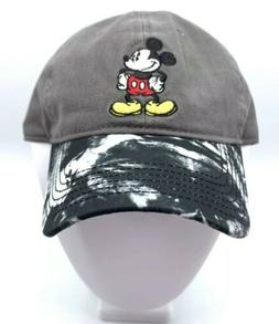 NWT Disney Mickey Mouse Baseball Cap Gray Black Tie Dye Bill