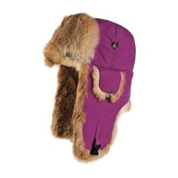 Mad Bomber Nylon Bomber Cap with Real Rrabbit Fur, Wine, XX-