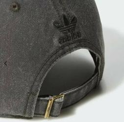 Adidas Originals Black Washed Denim Trefoil Dad Hat Cap Adju