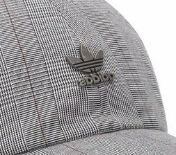 Adidas Originals Relaxed Fit Plaid Dad Hat with Metal Logo _