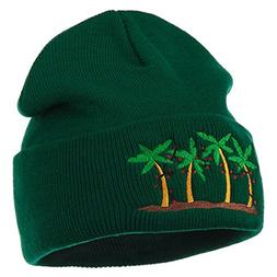 Palm Trees Christmas Lights Embroidered Beanie - Green OSFM